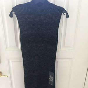 BCBG Gwynn Ribbed Tunic Dress Black/Silver Size XS